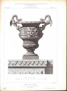 1872 Architecture Antique Print 16th c. Vase Design Dragons (Vase En Plomb)