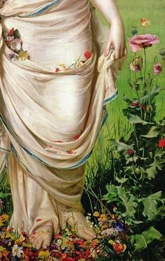 Gentle Spring, 1865, Frederick Sandys the floral details in this painting are incredible, it is part of the Pre-Raphaelites collection at the Ashmolean Museum Oxford