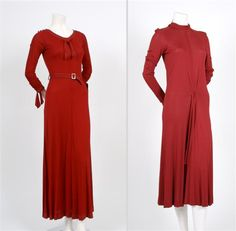 """Jean Muir, Two Red Jersey Dresses, 1980s. """"one with grey stitched tie sleeves, grey stitched open neckline with knotted tie, matching square buckle belt, full length. One with pointed sleeves, mock turtleneck collar, ruched at waist with back tie belt, full length. All labeled: Jean Muir/London."""" Lot# 270----lot image"""
