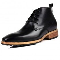 Top grain leather men elevator tall boot add height 8cm / 3.15inch black British business boots