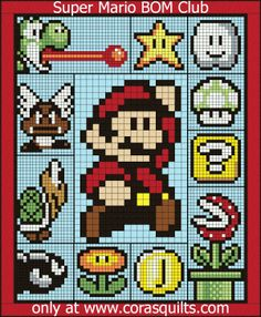 Cross Stitch Patterns Finished Size: x - Welcome to the home of the Super Mario Quilt Along Crochet Afghans, Crochet C2c, Crochet Blanket Patterns, Crochet Stitches, Quilt Patterns, Crochet Chart, Block Patterns, Pixel Crochet Blanket, Knitting Patterns
