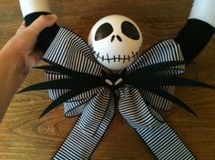 This is a guide about making a Nightmare Before Christmas yarn wreath. For the fans of this popular movie, you can make a Halloween wreath using decorative elements from the film. Nightmare Before Christmas Decorations, Nightmare Before Christmas Halloween, Halloween Christmas, Halloween Crafts, Holiday Crafts, Holiday Fun, Christmas Time, Halloween Decorations, Halloween Wreaths