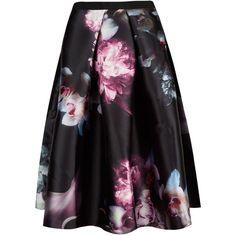 Ted Baker Patreis Ethereal Posie midi skirt ($280) ❤ liked on Polyvore featuring skirts, black, women, high waisted full skirt, zipper skirt, black skirt, high-waisted skirts and full skirt
