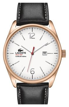 Lacoste 'Austin' Leather Strap Watch