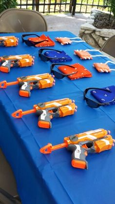 Nerf themed birthday party-Nerf gun + bandana, sunglasses from dollar store + handmade bullet quiver.  Everything went home as the kids' goody bags after the Nerf war.