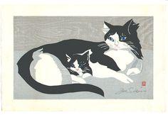 Junichiro Sekino - Cat and Kitten, woodblock print