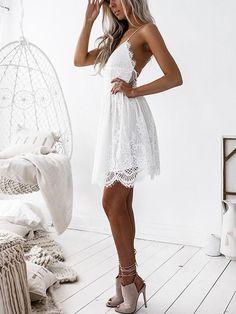 ecb9dac1731 White V Neck Lace Up Back Scallop Hem Lace Cami Dress