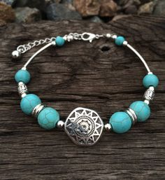 "- BOHO SILVER TURQUOISE BRACELET - 8"" -10"" LENGTH ADJUSTABLE - WORLD WIDE SHIPPING - FREE SHIPPING ANYWHERE IN THE U.S. VISIT OUR FAQ PAGE FOR SHIPPING AND HANDELING DETAILS"