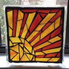 Stained Glass Mosaic on Glass Block/ Sun by SunriseMosaicsbyBeth