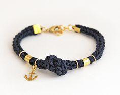 Bracelet ancre bleu marine avec noeud, bracelet maille corde avec charme de l'ancre, nautical bracelet, bracelet bleu