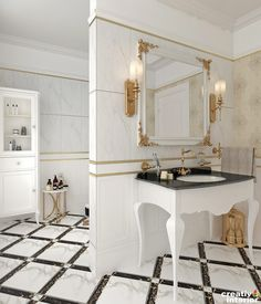 Design Interior Apartament în stil Neoclasic, Complex VallettaCreativ Interior Double Vanity, Oversized Mirror, Interior Design, Furniture, Home Decor, Nest Design, Decoration Home, Home Interior Design, Room Decor