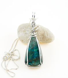 Chrysocolla Pendant Necklace  Teal Chrysocolla by FeathersnThingz