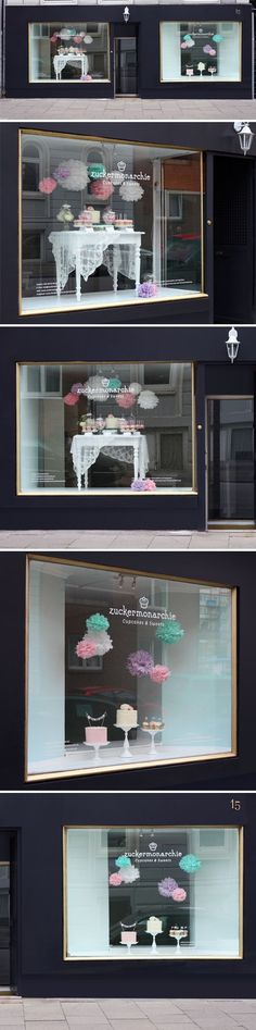 cute dessert table display in front window @Heather Brannan (Top Shop Design)