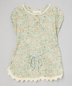 Love this Poco & Picotine Green & Pink Floral Dress - Toddler & Girls by Poco & Picotine on #zulily! #zulilyfinds