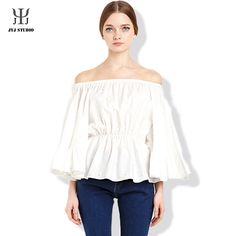Aliexpress.com : Buy Off Shoulder Blouse Beading Women Shirts Blouses Sexy Flare Sleeve Blouse Shirt Sweet Slash Neck Strapless White Blouse from Reliable blouse tie suppliers on JYJ STUDIO