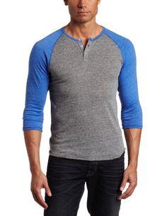 Alternative Men's 3/4 Sleeve Henley Shirt, Grey/True Royal, Large Alternative,http://www.amazon.com/dp/B007IDMXG6/ref=cm_sw_r_pi_dp_ZZdHsb13CKWJ40CR