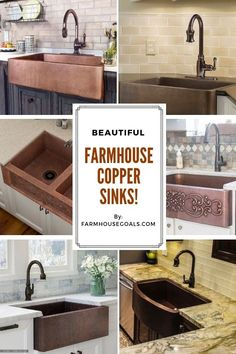Farmhouse Copper Sinks for Kitchens & Bathrooms - Farmhouse Goals Farmhouse Copper Sinks! Discover the most beautiful and rustic farmhouse copper sinks for your Copper Farmhouse Sinks, Copper Sinks, Farmhouse Sink Kitchen, Farm Sink, Copper Kitchen, Rustic Farmhouse, Kitchen Sinks, Hammered Copper, Kitchen Islands