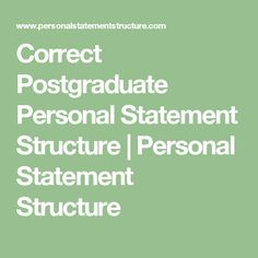 personal statement basic structure