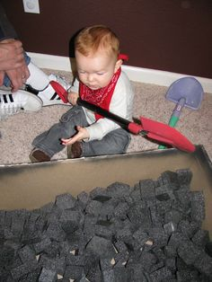"train party! I love the pretend ""coal shoveling"" with cut up pieces of black foam."