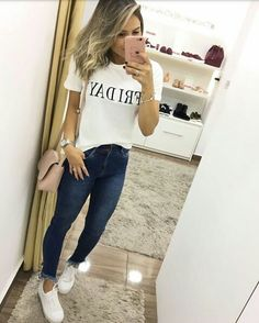 Women's Casual Fashion Basic Outfits, Casual Outfits, Summer Outfits, Cute Outfits, Fashion Outfits, Fashion Top, Fashion Hats, Fall Fashion, Style Casual