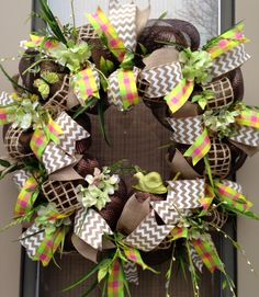 """GARDEN  FRIENDS"" - XL Chic Chocolate Burlap Spring / Summer Deco Mesh Wreath Decoration, $ 139.95 by DecorClassicFlorals on Etsy"
