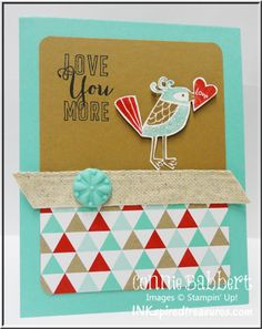 www.inkspiredtreasures.com, Stampin Up, Love You More, Valentines, love cards, Connie Babbert
