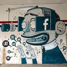 #フェイスブック の「いいね!」地獄に支配されるユーザーをコミカルに表現した壁画 http://japa.la/?p=40504 #Facebook #グラフィティ #ストリートアート #マスコミ #時計じかけのオレンジ