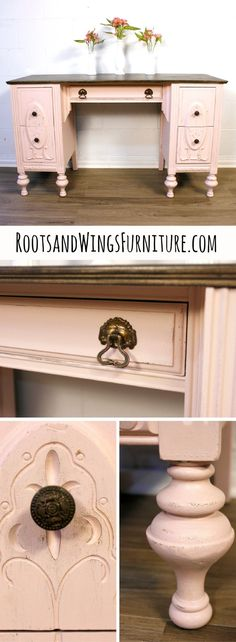 A blush vanity makeover by Jenni of Roots and Wings Furniture.