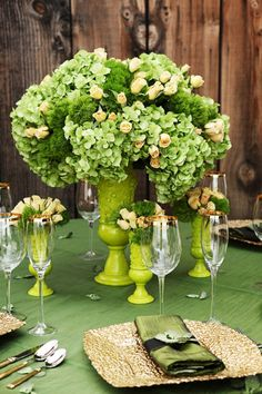 Green and gold tablescape
