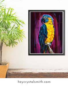 Giclee print - Blue Throated Macaw - by Crystal Smith - This Blue Throated Macaw has bright plumage and is ready to show off his colors. This species of parrot is a critically endangered bird. A digital painting in oil painting style. #birdart #bird - Bird decor for your home. Jungle decor.
