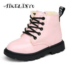 Happy Deal $7.01, Buy Boys Girls Winter Boots Children Shoes Pu Leather Waterproof Boots Fashion Ankle Boots Heels Shoes Martin Big Kids Snow Boots