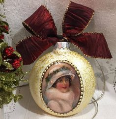 Hand decorated ornament  Decoupage Christmas Ball