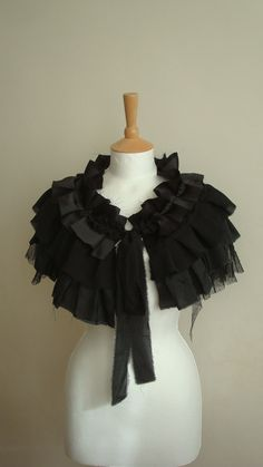 Upcycled Black Capelet Tattered Steampunk Romantic Fairy Gothic Vampire Halloween Party