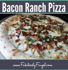 We love to make homemade pizza at our house. This chicken bacon ranch pizza is my favorite!