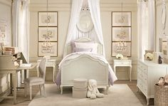 Little Girl's bedroom Antique white Colonial Furniture with mauve accents