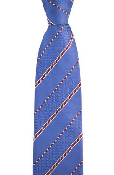 Patterning pops, in this SANTOSTEFANO Italy Blue Red Striped Silk  Skinny Neck Tie!  |  Have at it! http://www.frieschskys.com/neckwear/ties  |  #instastyle #mensfashion #mensstyle #menswear #dapper #stylish #MadeInItaly #Italy #couture #highfashion