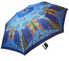 Tiffany Butterfly Folding Umbrella with Auto Open Button and Matching Fabric Cover.