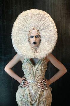 furne one <3 filipino fashion designer   Editorial photo.  Winter white and black lipstick.