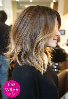 5 'Must Try' Bob Hairstyles [ARTICLE] - Long, Wavy and slight asymmetrical bob. #wavybob #ombre: