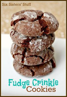 Fudge Crinkle Cookies- only 4 ingredients! These cookies are a staple at our house. SixSistersStuff.com #cookies #chocolate