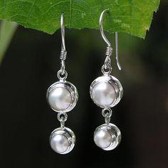 Pearl Sterling Silver Dangle Earrings - Two Full Moons | NOVICA