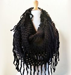 Womens scarf Collette in BLACK with long by OriginalDesignsByAR, $24.95
