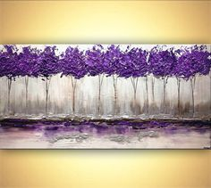 """Modern Purple Silver Landscape Blooming Tree Painting Signed Palette Knife Original Acrylic Painting by Osnat 60""""x30"""""""
