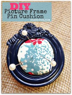 DIY Pin Cushion picture frame tutorial. Great gift idea for the sewing fan in your life.