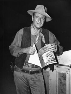 John Wayne on the set of Rio Bravo