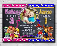Excited to share the latest addition to my #etsy shop: Birthday Invitation-Paw Patrol Photo Invitation-Chalkboard Paw Patrol Invitation-Boy Girl Paw Patrol Invite-Twins invitation-Siblings Invite #birthdayinvitation #photoinvitation #pawpatrolinvite #pawpatrolparty #pawpatrolinvites #twinspawpatrol #boygirlpawpatrol #siblingspawpatrol https://etsy.me/2GJnTJv