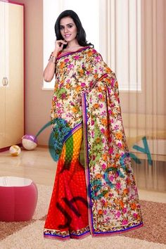 Flower printed Sarees @ Rs. 2200
