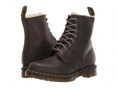 Dr. Martens 1460 Serena Core Ben - Women's Boots : DMS Olive Wyoming : When the streets turn cold and icy, you can tough out the toe-chilling temps or you can work a little smarter with the winter-boot construction of the Dr. Martens Fur Lined 1460 Serena Orleans. Work boots are crafted with Orleans, a soft leather that is lightly burnished and waxed. Plush faux-fur lining features a soft, high pile to improve warmth retention. Features classic Doc's DNA, #DocMartensoutfit