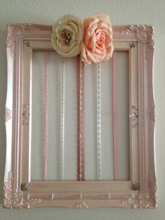 Hair clip bow holder frame wall art