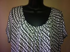 Black White Belted Blouse 1X Oliva Page Cap Sleeve Made in USA